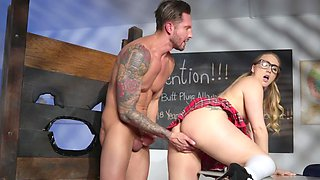 Tattooed babe getting her anal hole obliterated