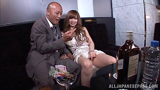 Dainty Japanese sex bomb takes on two fat cocks in a tasty threesome