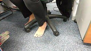 candid amazing barefoot secretary girl in work feet play
