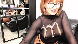Busty Lingerie Redhead Fingering her Clit