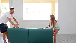 Lovely teen Lilly Ford finally gets to jumps on a hard pecker