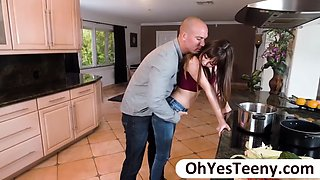 petite teen shae gets pounded in the kitchen by her horny fiance