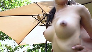 Asian chick gets her titties filled with champagne