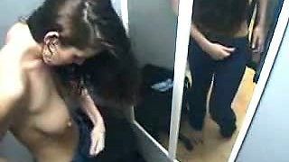 A thin brunette model with big tits security spy cam video