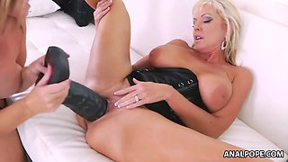 MILFs playing huge toys
