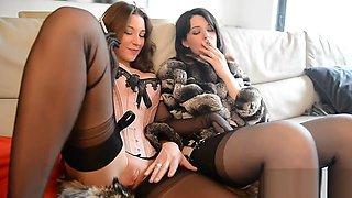 Girlfriends smoking in furs
