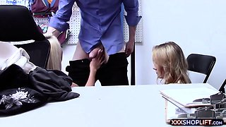 Two blonde hottie shoplifter chick punish fucked
