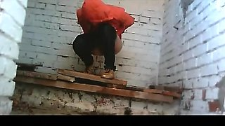 Pissing in the strange dirty public toilet