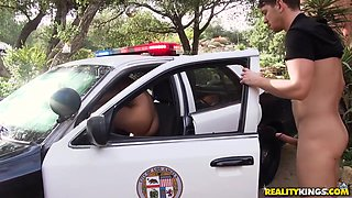A Female Cop With Big Boobs Gets Doggy Fucked On The Car Outdoors - Mercedes Carrera And Markus Dupree