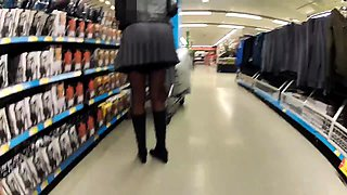 Busty mature slut in lingerie flashes her body in public