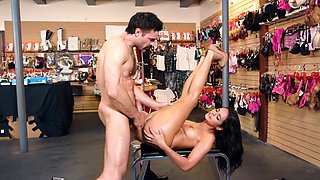 Slut at the sex shop gets fucked a dude with a big dick