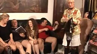 Slutty German babes enjoy a dirty group sex