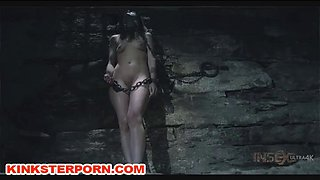 dungeon slave bdsm chained in a hole