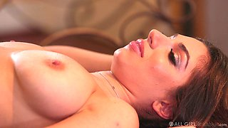 Nympho Adriana Chechik is licking and finger fucking pussy on the massage table