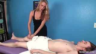 cute masseuse cock punishment