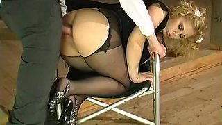 Ropes crotchless pantyhose curvy ass and anal