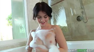 a breath taking solo scene with ashlyn rae as she takes a bubble bath