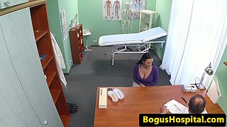 Busty babe creampied by doctors hard cock