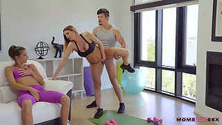Busty fitness instructor Brooklyn Chase fucks pretty girl and her boyfriend