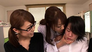 Japanese MILFs in lingerie punish dude in doctors office