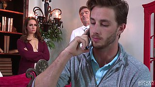 Handsome man is happy to seduce cute babe Casey Calvert