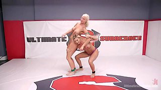 lesbian wrestling turns kinky with fisting