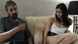 Dad spanks and fucks his slutty daughter Emily Willis