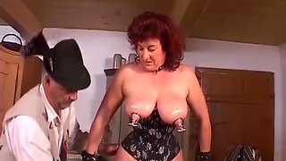 extreme pierced german busty mature enjoys a rough labia stretching lesson