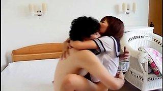 Sexy asian schoolgirl sucking cock