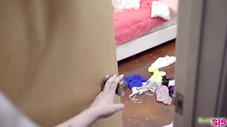 Nasty stepsister Alex Blake is spying on her stepbrother fucking GF