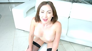 Busty brunette Yasmin Scott fingers herself while being analfucked