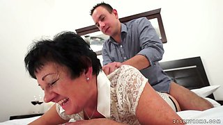 Horny grandma Julienne is drilled well by a hot stud