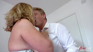 Mature woman with big tits, Camilla is getting fucked and creampied, while her husband is working