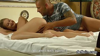 Innocent nympho stretches spread vagina and gets deflorated