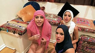 Model orgy Hot arab damsels try foursome