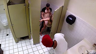 Hidden camera in the bathroom films MILF Miss Melrose having sex