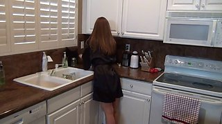 Mom Tease Son In Kitchen