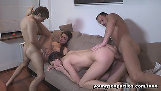 Yan & Aruna Aghora & Simon & Carly in Three-Way Becomes A Foursome - YoungSexParties