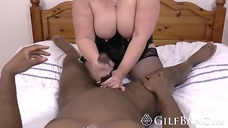 blonde mature chick with huge milk factories is riding a black dong