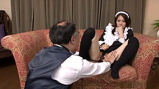 Sexy waitress Himeki Kaede fucked by her old boss