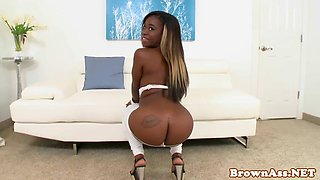 Ebony teen riding white dick