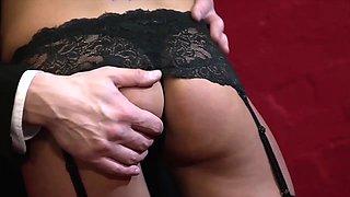Slutty maid enjoys teasing her boss his big cock