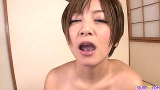 Sultry MILF Meguru Kosaka Swallows Cum In POV