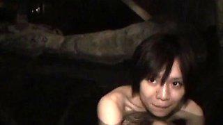Subtitled first time Japanese lesbian hot spring bathing