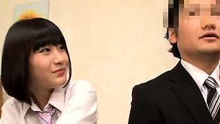 Japanese in school uniform takes her turn riding cock
