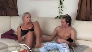 Milf in pantyhose and boy