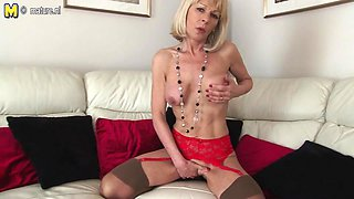 Blond British granny getting soaked