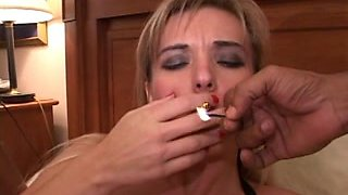 Slut was smoking while her ass and muff were gangbanged