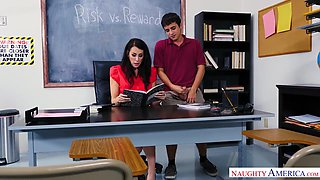 Fantastic sexy MILFie tutor is busy with riding strong cock on the desk