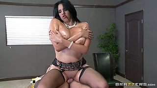 missy martinez's huge oiled tits bounce as she rides the cock